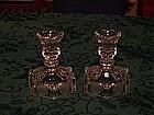 Fostoria Coin glass candleholders