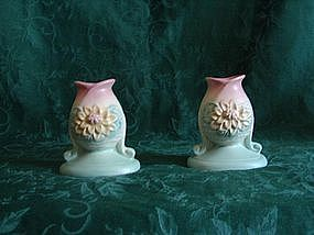 Hull waterlilly candle holder pair.
