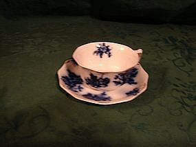Grindley, early 1800's flow blue cup and saucer
