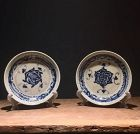 Pair of Chinese 17th to 18th Century Blue and White Dishes