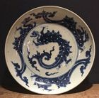 Chinese 18th Century Blue and White Dragon Plate