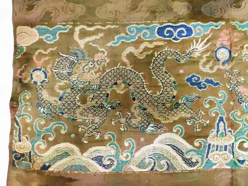 Chinese Late 17th Century Imperial Double Dragon Brocade