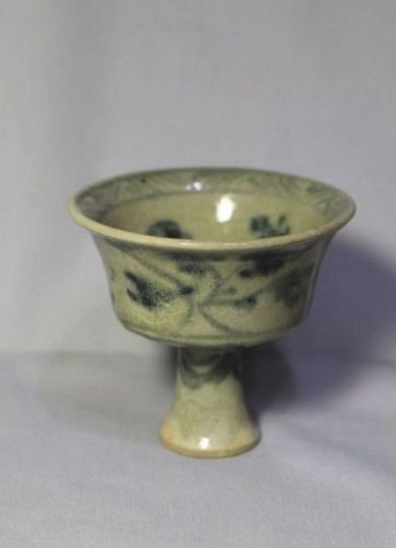 Chinese 14th Century Underglaze Blue and White Stem Cup