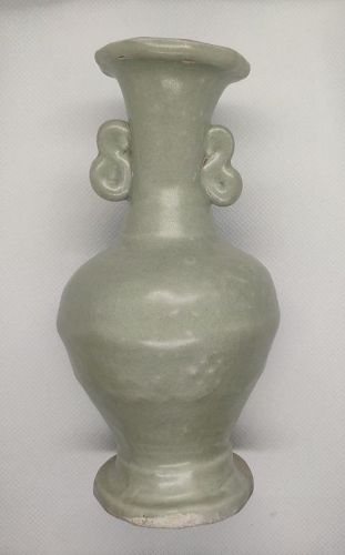 Pair of Chinese Yuan to Ming Dynasty Longquan Vases-1