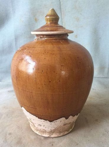 Chinese Tang Dynasty Amber Glaze Jar with Lid