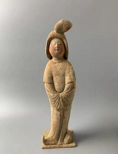 Chinese Tang Dynasty Pottery Painted Fat Lady