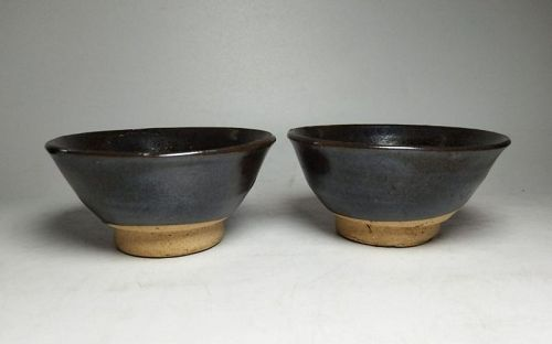 Pair of Chinese Song Dynasty Brown Glaze Tea bowls