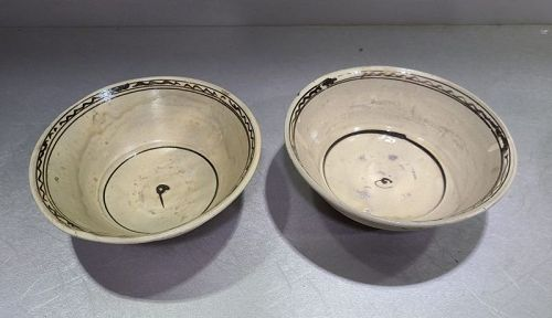 Pair of Chinese Yuan to Ming DYnasty Cizhou Painted Bowls