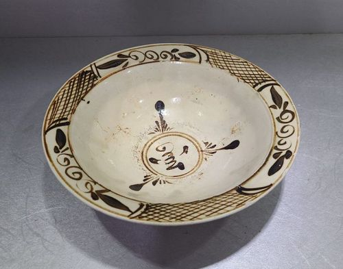 Chinese Ming Dynasty Cizhou Painted Bird Bowl