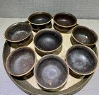 Set of Chinese Tang Dynasty Brown Glaze Tea Bowls with Tray