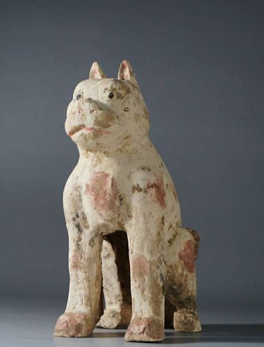Chinese Han Dynasty Pottery Painted Dog