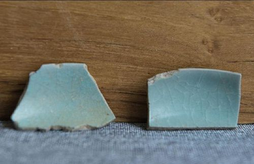 2 Chinese Song Dynasty Ru Ware Celadon Shards