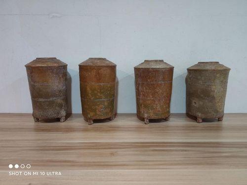 Set of 4 Chinese Han Dynasty Amber Glaze Granaries