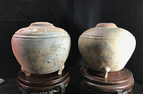 Pair of Chinese Han Dynasty Pottery Painted Tripod Granaries with Lids