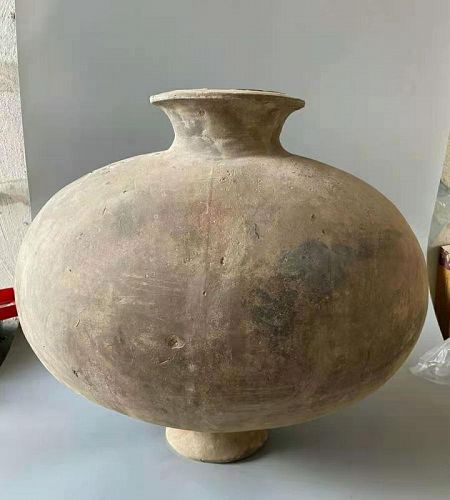 Chinese Han Dynasty Pottery Cocoon Jar