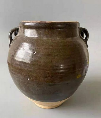 Chinese Five Dynasties Brown Glaze Pot with 4 Lugs