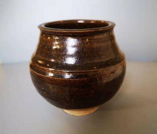 Chinese Southern Song Karamono Brown Glaze Tea Caddy