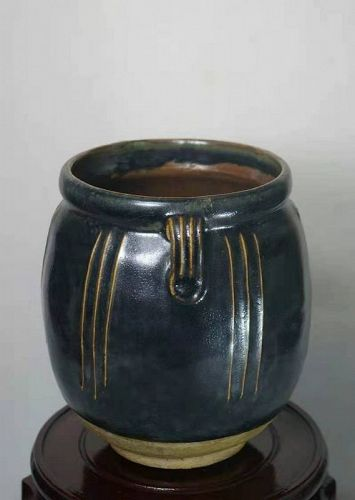 Chinese Song Dynasty Black Glaze Pot with 2 Lugs