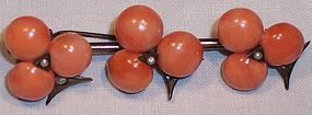 Fine Sterling Coral Clover Seed Pearl Brooch c.1850