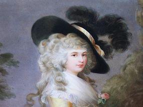 Antique Berlin Painting on Porcelain Plaque Duchess
