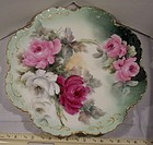 Antique Hand Painted Porcelain Plate Huge Roses c1890