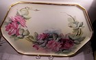 Antique Porcelain Vanity Dresser Tray Plate HP Roses