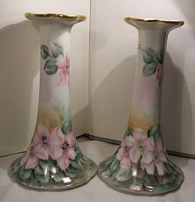 Lovely Pair Antique Porcelain Hand Painted Candlesticks