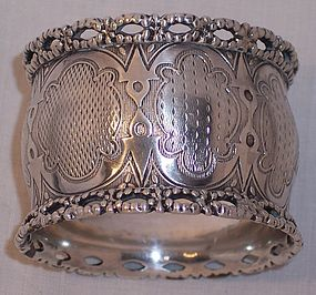 Fine Antique Coin Silver Sterling American Pierced Napkin Holder Ring
