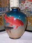 Japanese Cloisonne Enamel Fish Vase Ogasawara Shuzo