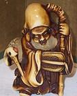 Antique Japanese Ivory Netsuke Jurojin Taoist God