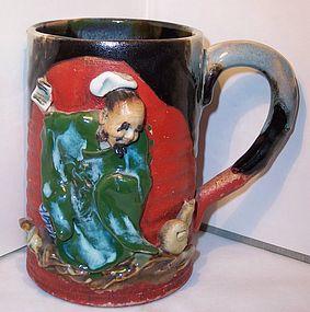 Antique Japanese Sumida Gawa Ceramic Mug Cup Ex.Cond.