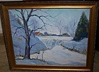 Fine Oil Painting Winter Snow Scene Cyril Ledoux NY
