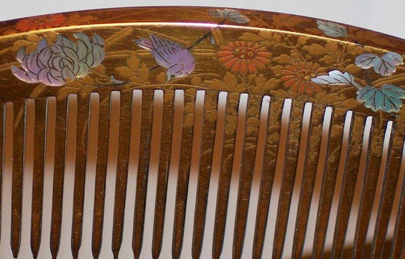 Antique Japanese Kanzashi Makie Comb Hair Pin Set
