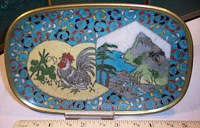 Antique Japanese Cloisonne Enamel Tray Rooster Early