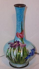 Japanese Cloisonne Enamel Iris Vase Kumeno Teitaro