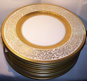 11 Pickard Porcelain Service Plates Embossed Gold