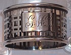 Antique Sterling Geometric Arts & Crafts Napkin Ring