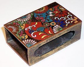 Japanese Cloisonne Enamel Match Box Cover Holder