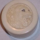 Antique Japanese Meiji Ivory Trinket Pill Box Lion