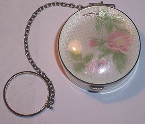 Sterling Enamel Chatelaine Trinket Box Compact