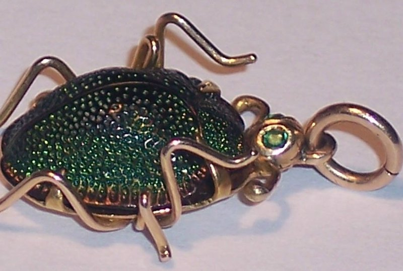 Antique 14k Gold Enamel Emerald Scarab Bug Insect Pendant Charm Egypt