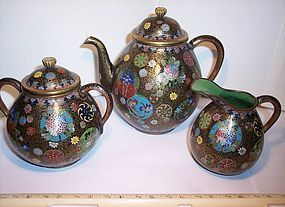 Antique Japanese Cloisonne Enamel Takahara Teapot Bowl Pitcher Set