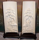 Chinese Ivory Wrist Rest Table Screen Relief Scene
