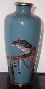 Fine Meiji Japanese Cloisonne Enamel Vase Falcon