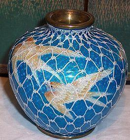 Japanese Gin Bari Moriage Cloisonne Enamel Vase Birds
