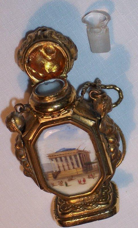 French Scent Perfume Bottle Miniature Scenes c.1850 Palais Royal