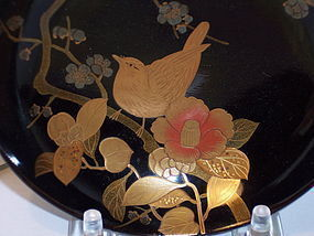 Fine Japanese Meiji Lacquer Maki-e Bowl Gold Bird Camellia