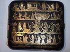 Japanese Meiji Damascene Komai Cigarette Case 24k Gold Egypt Motif