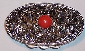 Vintage Continental Silver 800 Italian Pill Snuff Box Red Coral Stone