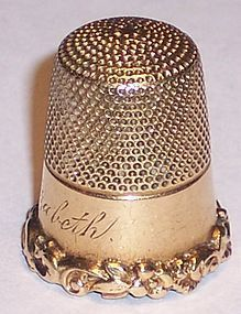 Antique 14k Solid Gold Thimble by Carter,Gough & Co Scrolls Heavy